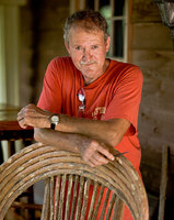 "portrait of Joe Bob Traylor of Woodland, Alabama. He makes what he calls ""primitive furniture"" he constructs the chairs, rockers,